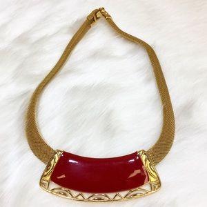 80s Monet Gold Tone Mesh & Red Enamel Necklace